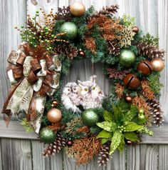 Copper and Green Winter Owls Christmas Wreath, by IrishGirlsWreaths, $149.99-- *SOLD!*
