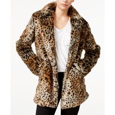 Sanctuary Kate Animal-Print Faux-Fur Jacket ($229) ❤ liked on Polyvore featuring outerwear, jackets, leopard, sanctuary jacket, faux fur jacket, leopard jacket, fake fur jacket and faux fur leopard jacket