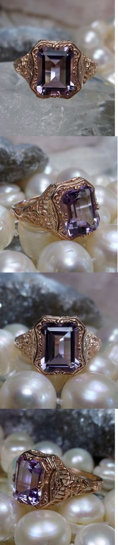 Rings 52603: 2.3Ct Natural Amethyst Solid 14K Rose Gold Floral Filigree Ring {Made To Order} BUY IT NOW ONLY: $291.0