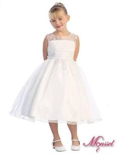 f93fdfcd85d Ivory Organza Sleeveless Flower Girl Dress with Gorgeous Embroidery Accent