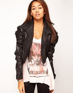 loving the ruched sleeves - Religion Victoria Cropped Leather Jacket