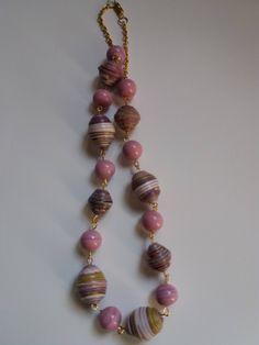 Collana girocollo con perle di carta e catenina sottile di Caiapaperjewels su Etsy