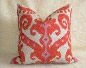 Pair of 2 Ikat Designer Pillows Linen - Orange Red Coral -18 inch - Zipper Enclosure - Decorative Pillows - Throw Pillows. $72.00, via Etsy.