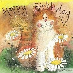 Cat and #daisies #birthday card by alex clark, happy #ginger cat greeting card, View more on the LINK: http://www.zeppy.io/product/gb/2/281390914736/
