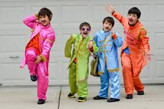 Kid costumes.  Group of 4 costume.  All boys group costumes. The Beatles