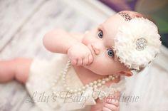 Baby Headband - Creamy Ivory Shabby Chic Chiffon Puff Flower on Brown Giraffe Print Headband - Newborn, Infant, Toddler Girl Photo Prop