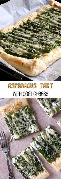 Asparagus And Goat Cheese Tart | http://yummyaddiction.com