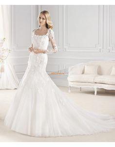 Traîne moyenne Col carré Empire Robes de mariée 2015