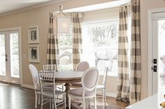 gray white and wood room designs | Dining Room Design Ideas With Grey Stripe Curtain, Round White Wood ...