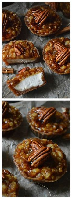 Mini raw caramel apple cheesecakes, with a cinnamon spiced walnut base, covered in creamy vanilla cheesecake, and topped with chewy date caramel apple.