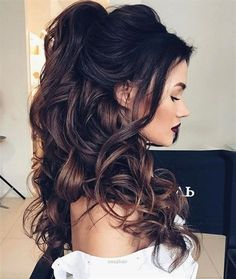 Wedding Hair Down Awesome Half up half down hairstyles – partial updo wedding hairstyle is a great options for the modern bride from flowy bohemian to clean contemporary Down Hairstyles For Long Hair, Wedding Hairstyles Half Up Half Down, Wedding Hair Down, Wedding Hairstyles For Long Hair, Elegant Hairstyles, Hairstyles 2018, Wedding Updo, Bohemian Hairstyles, Ponytail Hairstyles