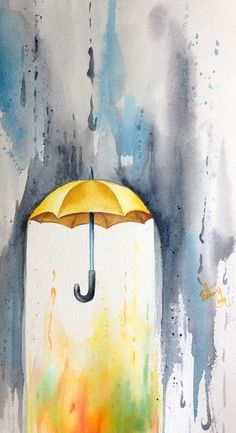 Watercolor tattoo: umbrella. Not sure how this would work, but love the idea.