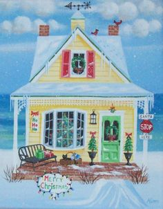 Christmas Cottage Original Folk Art Print by KimsCottageArt, $12.95