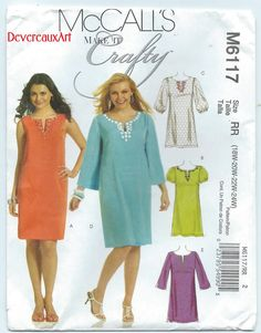 2010  McCall's Make It Crafty Pattern M6117  UNCUT by Devereauxart (Craft Supplies & Tools, Patterns & Tutorials, Sewing & Needlecraft, Sewing, size rr, size 18w-20w-22w-24w, dress, dresses, classic, urband, trend, city, office, career, mccalls m6117, make it crafty)