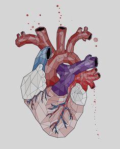 #draw #illustration #heart #geometric #tattoo #art #collor #blood #human #body