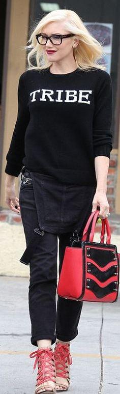 Gwen Stefani: Shoes and purse – GX by Gwen Stefani  Overalls – Paige  Sweater – A.L.C.