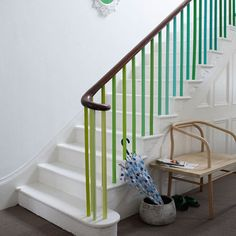 check the stylish railing, why choose one color?, when you can take many?  a little splash of color in a white room oozes personality.