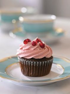 Pomegranate Cupcakes with POM Cream Cheese Frosting