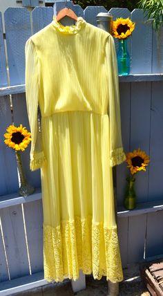Vintage  Clothing  Dress  Sunflower  Yellow Dress  Vintage Dress  Flower Child  Hippie  Maxi Dress  1970s 70s 1970s dress  Boho  Boho Dress  Vintage Boho  Yellow Boho  Summer Dress etsy