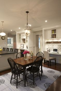 Suzie: Meredith Heron Design - Beautiful dining room design with farmhouse dining table, black ...