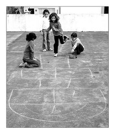 my Dad painted a hopscotch on our patio when I was little. I played for hours and hours!