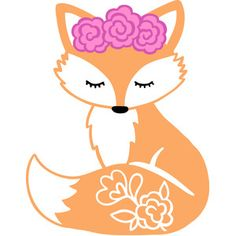 Silhouette Design Store: Fox With Flowers Fox Crafts, Arts And Crafts, Fox Art, Woodland Animals, Vinyl Projects, Clipart, Baby Quilts, Painted Rocks, Coloring Pages