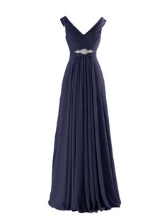 Yougao Women's V Neck A-Line Chiffon Long Floor Length Evening Dress Gown US 6 Navy