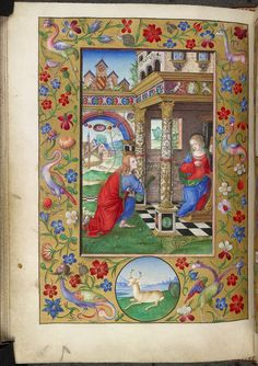 Description:	Miniature of the Annunciation, with a border with flowers, grotesques, and a deer in a roundel in the lower margin, at the beginning of the Hours of the Virgin.  Origin:	Italy, N. (Bologna)  Attribution:	Matteo da Milano