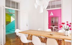 This is a fabulous contemporary home that uses bright colours to highlight different areas against white which is the predominant walls colour. See the pretty pink Kitchen on the Interiors: Kitchens All Board. Water Saving Devices, Handyman Projects, Frozen Pipes, Plumbing Tools, Water Company, Modern Love, Diy Tools, Pretty In Pink, Pink White