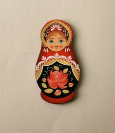 Red & Black Russian Doll Wooden Brooch by TheRowanTreeOnline