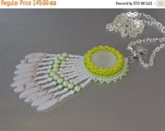 Summer sale 15% FREE SHIPPING, Bead embroidery, Pendant, Seed bead necklace, Trending style, Lunasoft, Mojito, Lime, green, by vicus. Explore more products on http://vicus.etsy.com