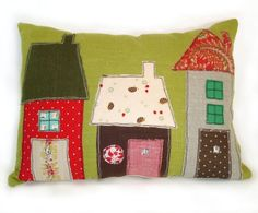Vintage Fabric Applique House Pillow Made to by RobinsEggBlue