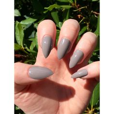 Fake nails, taupe nails, stiletto nails ($9) ❤ liked on Polyvore featuring beauty products and nail care