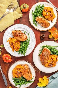 Maple-Glazed Chicken with Sweet Potato Mash and Green Beans - Berny Minchinton Healthy Foods To Eat, Healthy Eating, Healthy Recipes, Fall Recipes, Healthy Dinners, Dinner Recipes, Maple Glazed Chicken, Pecan Chicken, Roasted Chicken