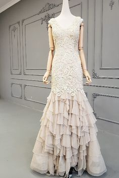 Romantic Long Mermaid Champagne Lace Tulle Ruffles Prom Evening Dress With Open Back Winter Prom Dresses, Evening Dresses, Formal Dresses, Orange Blush, Purple Grey, Prom Dresses Online, Mermaid Prom Dresses, Ruffles, Hot Pink