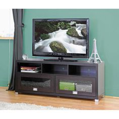 Swindon Modern TV Stand with Glass Doors | Overstock.com Shopping - The Best Deals on Entertainment Centers
