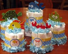 ocean baby shower - diaper cake center pieces