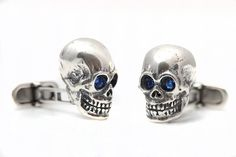 Sterling Silver Skull Cufflinks With Crystal Eyes - men's accessories Blue Crystals, Everyday Fashion, Personalized Gifts, Unique Gifts, Cufflinks, Gemstone Rings, Skull, Sterling Silver, Etsy