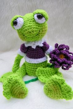 JULY SALE Crochet Pattern Frog by Teri Crews instant download PDF format
