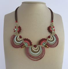 Statement Macrame beaded necklace Bordeaux salmon and mint. $132,00, via Etsy.