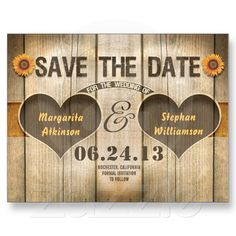 wood and sunflowers save the date invitations post card