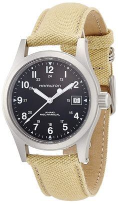 Hamilton Men's Khaki Field Black Dial Watch: Mechanical movementbr /Durable sapphire crystal protects watch from scratchesbr /Case diameter: 38 mmbr /Stainless-Steel casebr /Water resistant to 165 feet M): suitable for swimming and showering Hamilton Field Watch, Hamilton Khaki Field, Cool Watches, Watches For Men, Wrist Watches, Men's Watches, Hamilton Jazzmaster, Field Watches, Online Watch Store