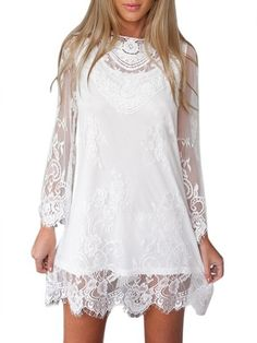 Women Long Sleeve O Neck Lace Embroidery Mini Dress Plus Size Womens Clothing, Plus Size Outfits, Plus Size Fashion, Clothes For Women, Stylish Dresses, Sexy Dresses, Boho Fashion, Fashion Outfits, Cheap Dresses Online