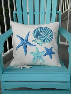 Overstuffed Outdoor Painted Seaside Pillow !