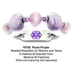 0708 Plush Purple Medical Id Bracelet From Fashions Diabetic Bracelets