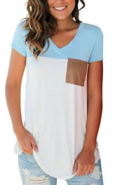 Sampeel Women's Summer Color Block Tshirt Suede Pocket Trendy Top Light Blue XL