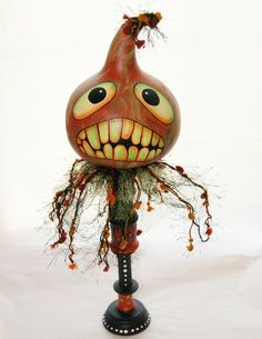 Halloween Gourd Head Haunted Swamp Holiday Home Decor Gourd Doll Figure  Hand painted with acrylic paints. His body is a recycled wood thread