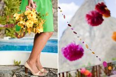 """It is always fun to fashion bouquets from local flowers. The ribbon matches the locally woven, traditional fabric pattern. Tissue poms and paper garlands create a festive backdrop for photos and provide a sense of """"place"""".  They are also easy to transport and assemble, pretty when installed and provide great impact."""