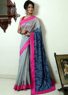 Saree - Grey Chanderi With Indigo Printed Cotton Pallu