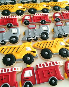 So cute for little boys birthday party - train cookies, firetruck cookies, and dump truck cookies. Construction Birthday Parties, 3rd Birthday Parties, Boy Birthday, Fire Truck Birthday Party, Dump Truck Party, Truck Birthday Cakes, Construction Party, Dump Trucks, Transportation Party